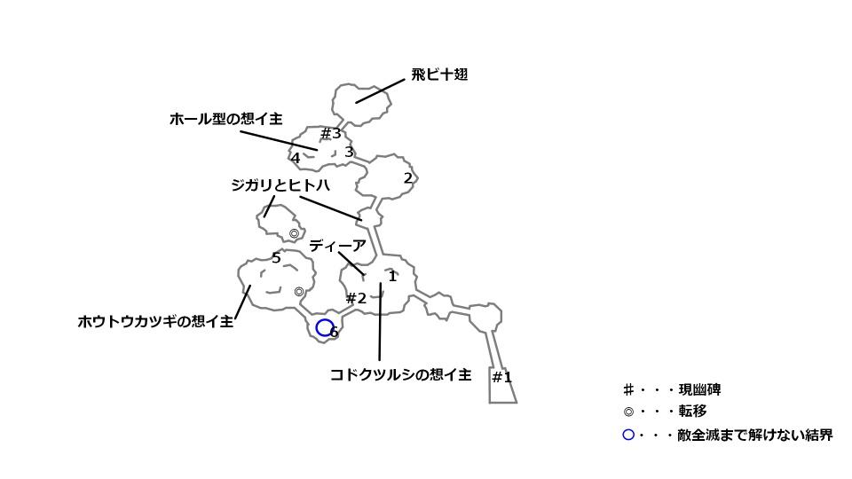 スークの大沼の宝箱とボスの位置を記したマップ