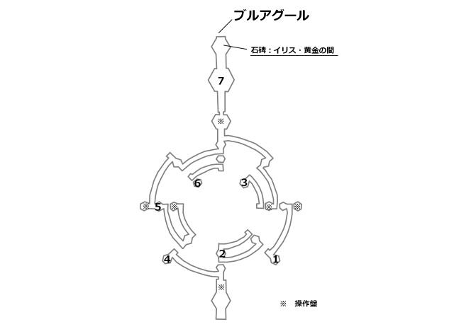 イリス・黄金の間の宝箱とボスの位置を記したマップ