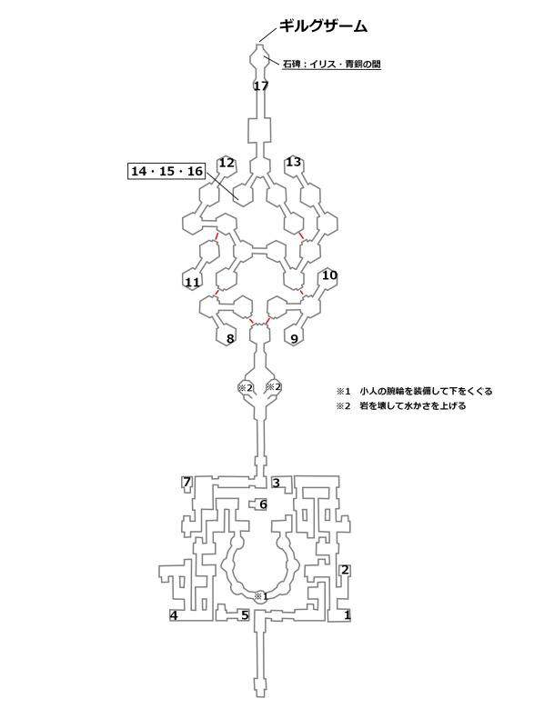 イリス・青銅の間の宝箱とボスの位置を記したマップ