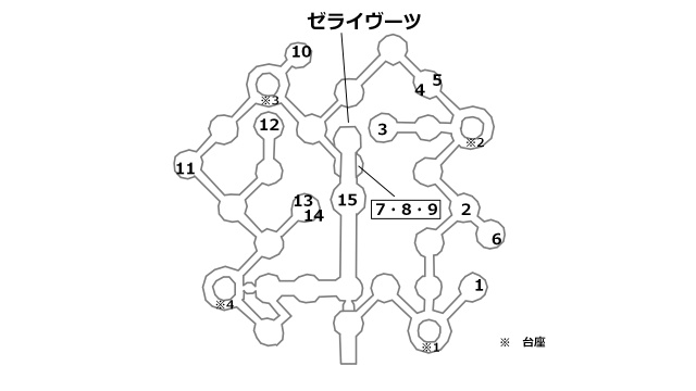 イリス・白銀の間の宝箱とボスの位置を記したマップ