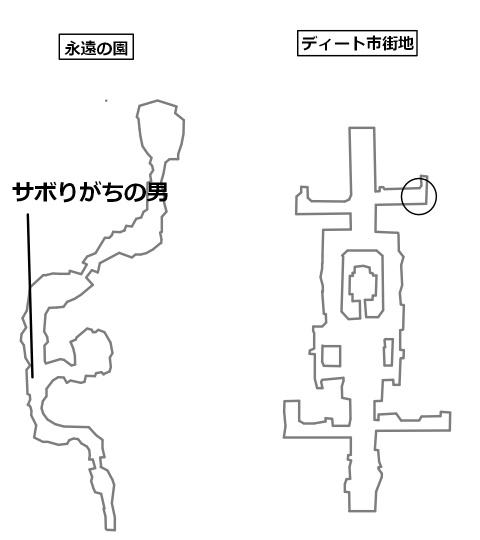 サボりがちの男のいる場所と目的地を記したマップ