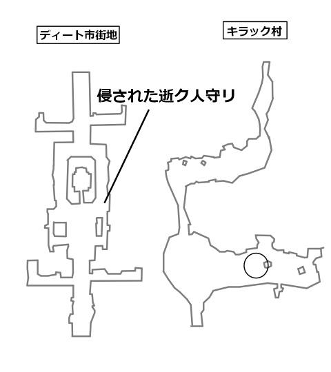 迷イ人侵された逝ク人守リのいる場所と目的地を記したマップ