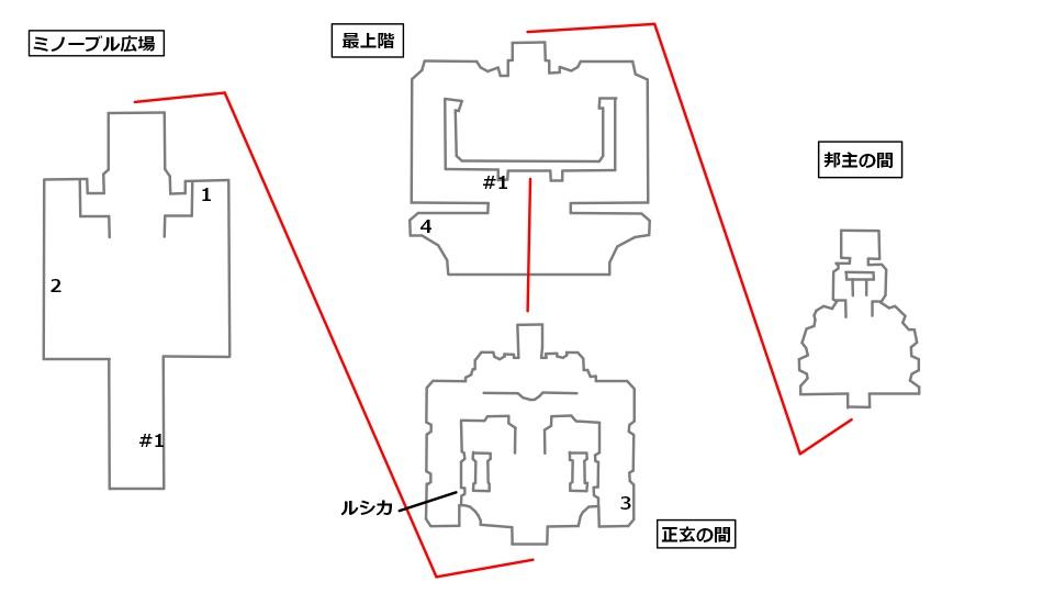 エヒリ宮の全体マップと宝箱