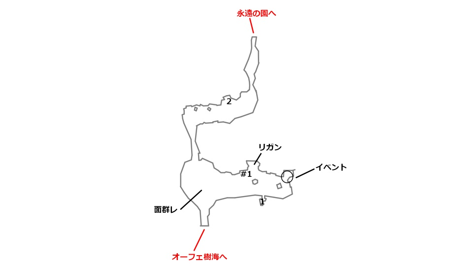 キラック村の宝箱とボスの場所を記したマップ