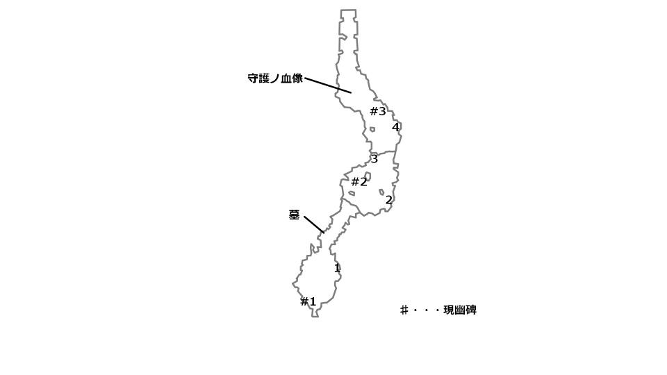 バダダ荒野の宝箱とボスの場所を記したマップ