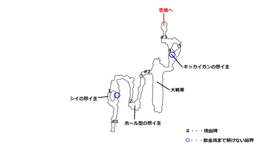 ナタイアの谷の宝箱とボスの場所を記したマップ