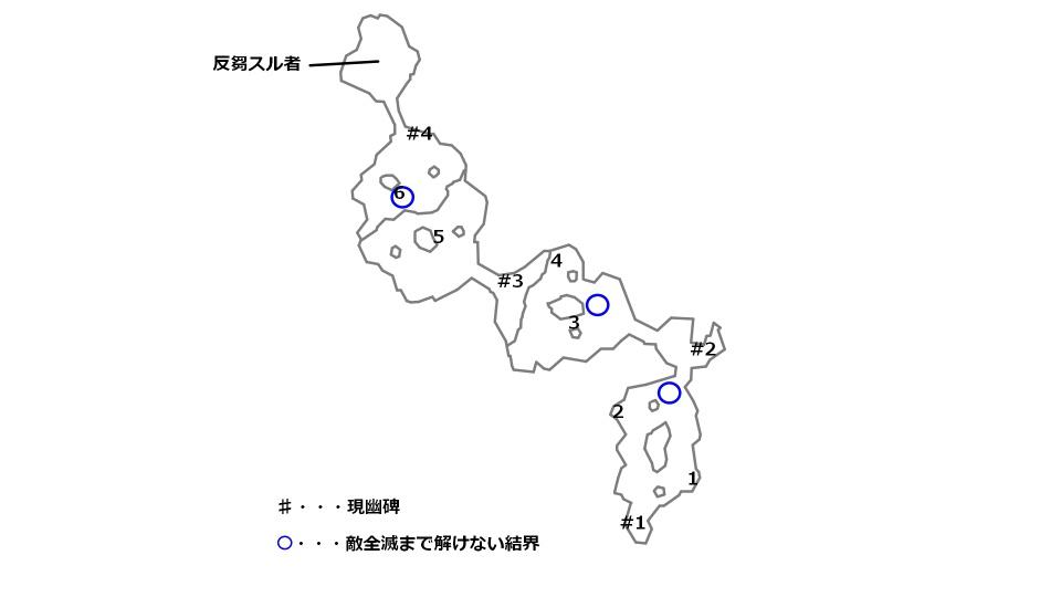 オベ平原の宝箱とボスの場所を記したマップ