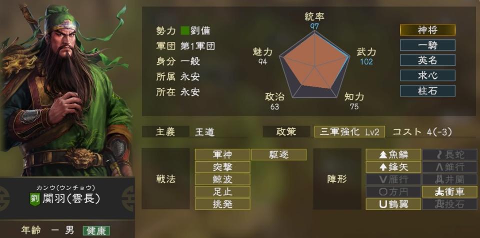 三國志14Tips4関羽