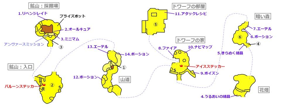 キングダムハーツバースバイスリープヴェントゥス編ドワーフ・ウッドランドマップ
